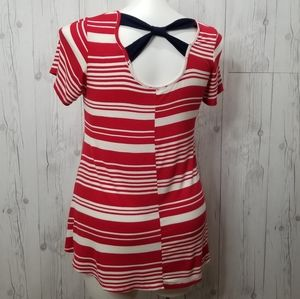 Papermoon • Red Striped Jersey Knit Top • SZ L